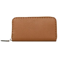 Fendi Tan Leather Selleria Zippy Wallet W/ DB