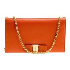 7819b70cc7 Salvatore Ferragamo Orange Leather Miss Vara Wallet On Chain