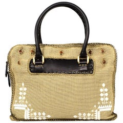 Fendi Brown Selleria Leather Studded Handbag W/ Optional Embroidered/Chain Cover