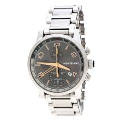 Montblanc Silver Grey Stainless Steel UTC Chronograph 7221 Men's Wriswatch 43 mm