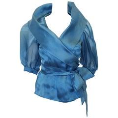 Paola Quadretti Elegant Blue Silk Organza Wrap Blouse