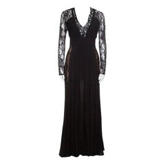 Elie Saab Black Lace Paneled Plunge Neck Long Sleeve Gown M