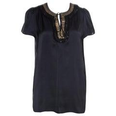 Stella McCartney Black Silk Satin Sequin Embellished Neck Tie Detail Top M