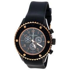 Bernhard H. Mayer Black & Rose Gold Pated Hugo Chonograph Men's Wristwatch 48 mm