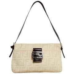 Fendi Beige Zucca Monogram Shoulder Bag W/ Logo Buckle