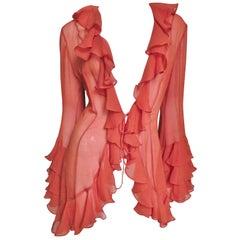 1980s Norma Kamali Silk Ruffle Tie Shirt