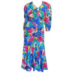 1980s Thierry Mugler Flower Silk Ruched Dress