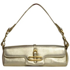 Jimmy Choo Gold Lame Leather Small Pochette Bag