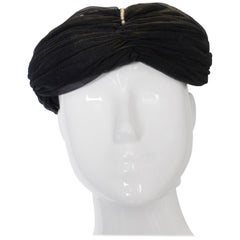 Vintage Black Hat with Pearl Detail