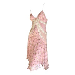 D&G Dolce & Gabbana Romantic Pink Silk Dress with Lace Details