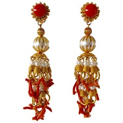 Large Vintage Pearl and Coral Chandelier Statement Earrings