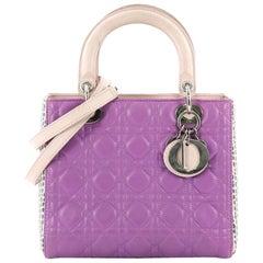 Christian Dior Lady Dior Handbag Cannage Quilt Lambskin with Python Medium
