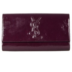 Yves Saint Laurent YSL Burgundy Belle DuJour Patent Leather Clutch  Bag