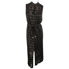 PAUL SMITH Size 2 Black Geometric Burnout Sleeveless Shirt Dress