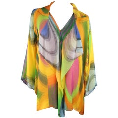 SHAMASK Size L Yellow Multi-Color Print Silk Draped Collar Blouse