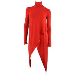 PLEIN SUD Size 4 Red Jersey Long Drape Turtleneck Top