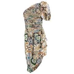 MISSONI Size 4 Gray Floral Silk One Shoulder Sash Dress