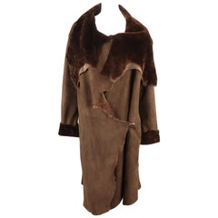 Vintage NIGEL PRESTON Size M Brown Shearling Fur Asymmetrical Coat