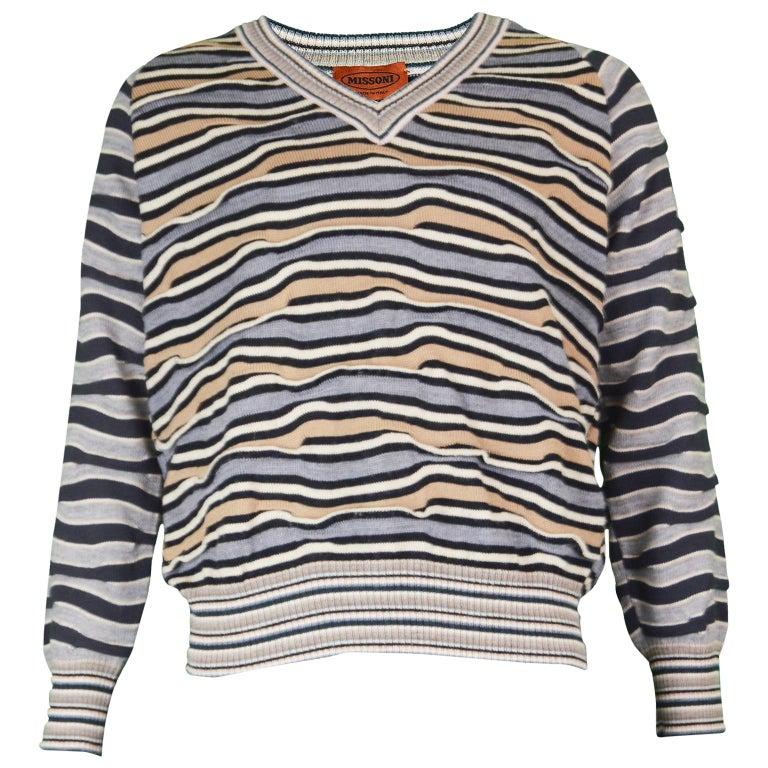 02e1b011d5 Missoni Men s 100% Wool Textured Stripe Sweater - EU 50 at 1stdibs