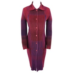ISSEY MIYAKE Size M Purple Print Pleated Collared Shirt Coat Dress