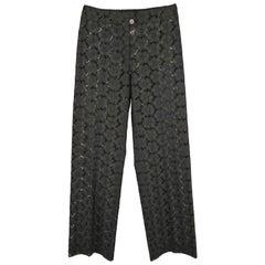 CHANEL Size 8 Black Cotton Lace Straight Leg Dress Pants 2001