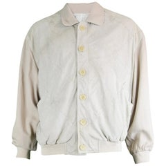 Pancaldi & B Vintage Men's Beige Silk & Laced Ovine Suede Bomber Jacket, 1980s