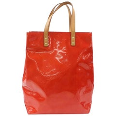Louis Vuitton Reade Monogram Vernis Mm 869298 Red Patent Leather Tote
