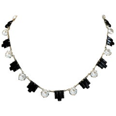 Circa 1920s Art Deco Molded Black Glass & Faceted Crystal Choker Necklace