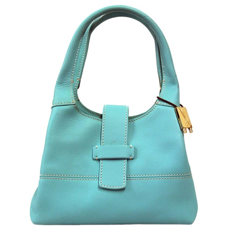 2000s Loro Piana Turquoise Purse For Sale