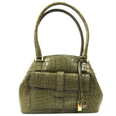 2000s Loro Piana Green Crocodile Leather Handbag