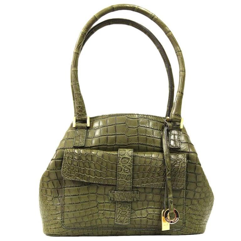 2000s Loro Piana Green Crocodile Leather Handbag For Sale