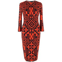 Alexander McQueen Red and Black Abstract Print Dress US 0-2