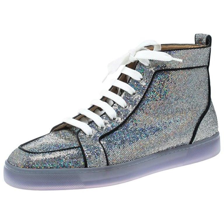 brand new 29340 57ee4 Christian Louboutin Glitter Disco Ball Rantus Orlato High Top Sneakers Size  42.5