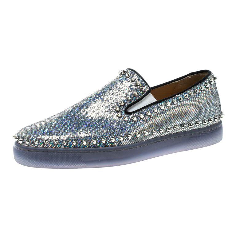 91c5f9cc1159 Christian Louboutin Glitter Disco Ball Spike Pik Boat Slip On Sneakers Size  42 For Sale