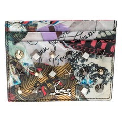 Christian Louboutin Multicolor Trash Print Patent Leather  Spiked Card Holder