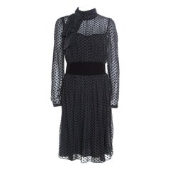 Valentino Black Velvet Polka Dotted Silk Neck Tie Detail Long Sleeve Dress M