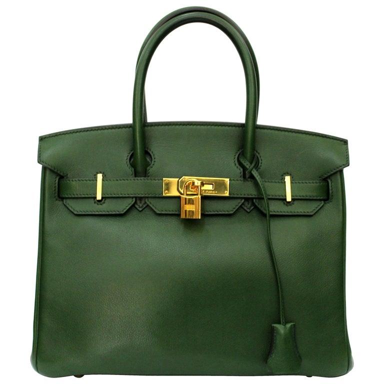 Hermes Birkin 30 Swift Green Leather  For Sale