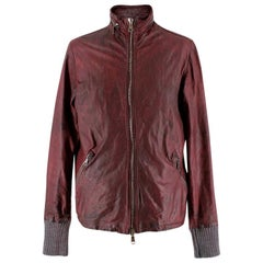 Giorgio Brato men's burgundy distressed leather jacket L