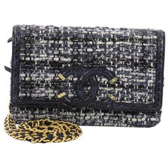 Chanel Filigree Wallet on Chain Quilted Tweed with Watersnake