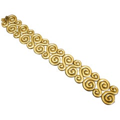 Yves Saint Laurent Scrolled Gilt Matte Metal Link Bracelet circa 1980s
