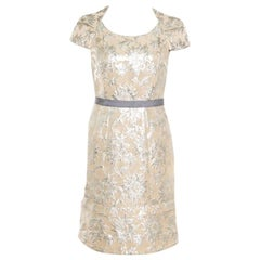 Marc By Marc Jacobs Beige Floral acquard Contrast Waistband Cap Sleeve Dress S