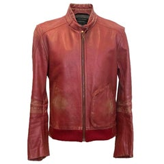 Marc Jacobs red leather distressed jacket XL