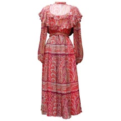 Thea Porter Couture gorgeous red bohemian style dress, 1970's