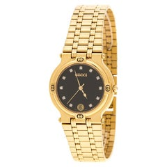 Gucci Black Yellow Gold Plated Stainless Steel 9200M Unisex Wristwatch 32 mm