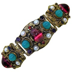 Circa 1950 Austro Hungarian Revival Jeweled Bracelet