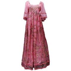 Thea Porter Couture gorgeous pink organza dress with floral print, 1970's