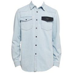 Givenchy Cuban Fit Leather-Trimmed Denim Shirt L