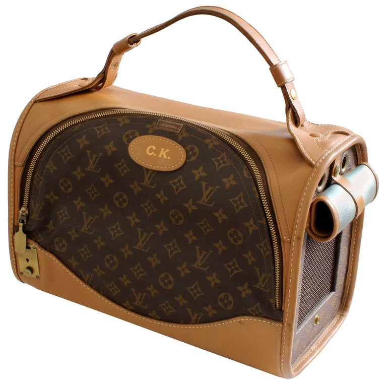 735fae8d200b Louis Vuitton French Company Sac Chien Monogram Dog Carrier Travel Bag 40cm  70s For Sale
