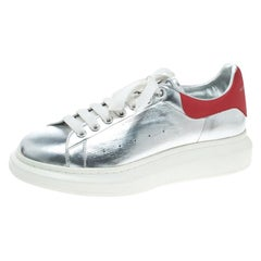 Alexander McQueen Silver/Red Classic Larry Platform Lace Up Sneakers Size 45