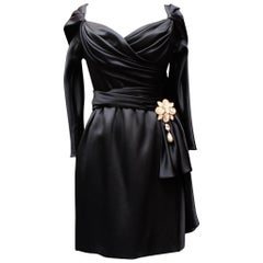 Givenchy Haute Couture black satin sheath dress